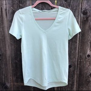 Lululemon Minty Blue V Neck Short Sleeve Tee
